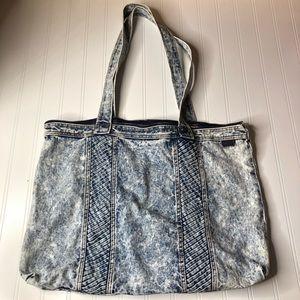Vintage 80s Acid Wash Denim Duffel Tote Bag Purse